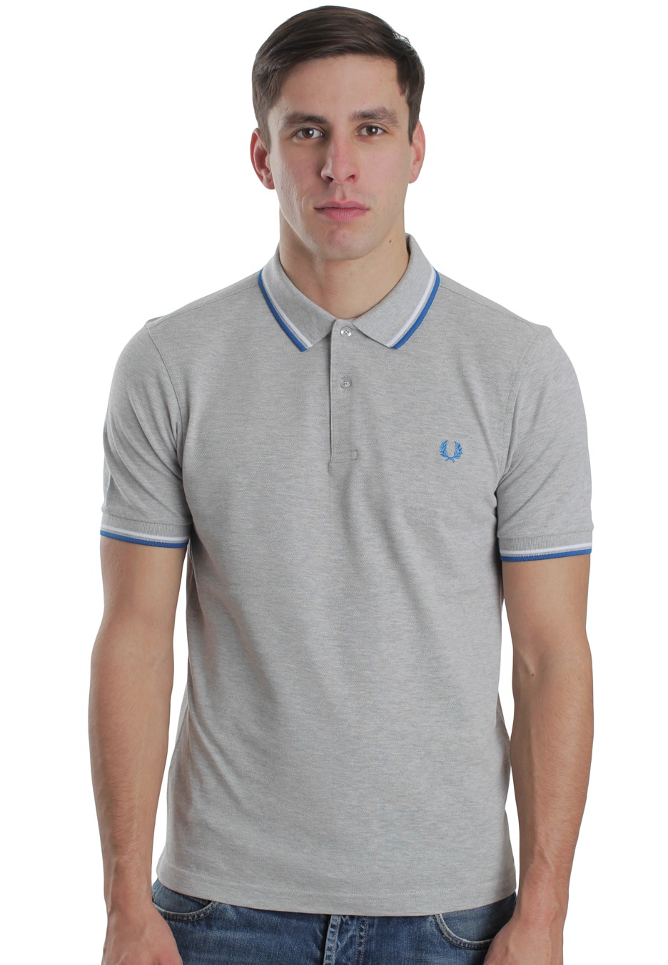fred perry slim fit twin tipped marl grey polo. Black Bedroom Furniture Sets. Home Design Ideas