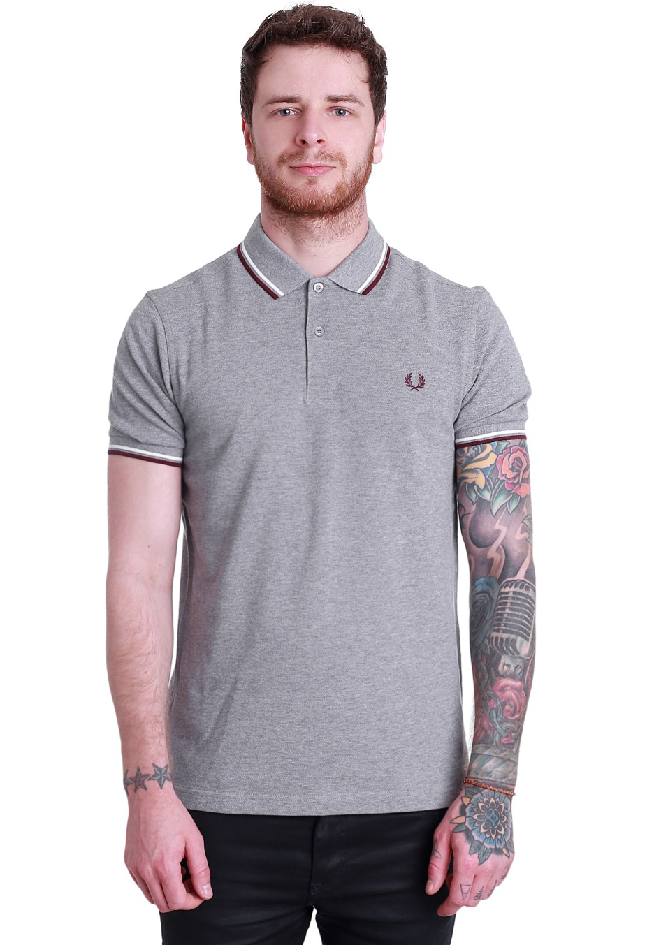 e48844bb5 Fred Perry - Slim Fit Twin Tipped Steel Marl/Snow White/Port - Polo -  Streetwear Shop - Impericon.com Worldwide