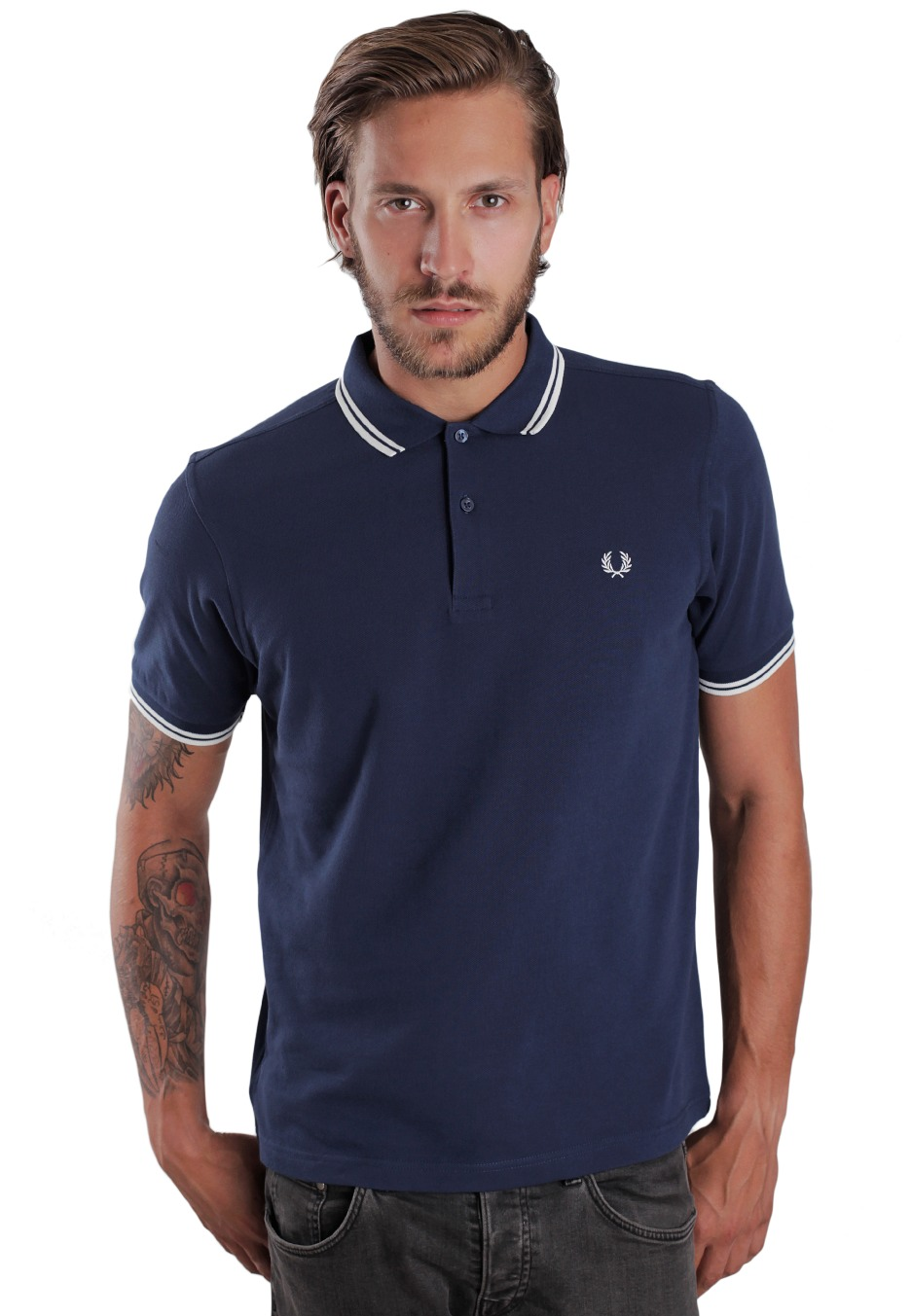 494d1f6d Fred Perry - Slim Twin Tipped Service Blue/Snow White - Polo - Streetwear  Shop - Impericon.com US