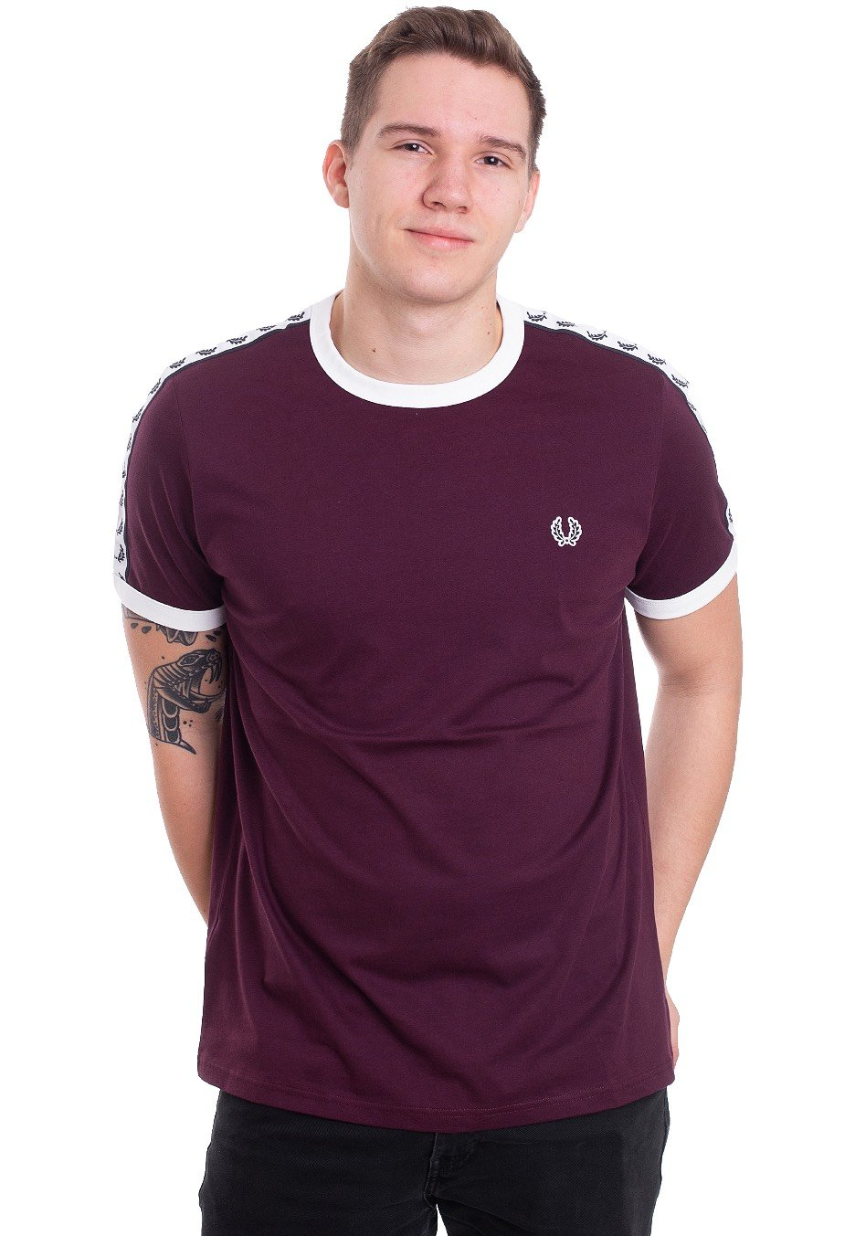 f310fb29 Fred Perry - Taped Ringer Mahogany - T-Shirt - Streetwear Shop -  Impericon.com Worldwide