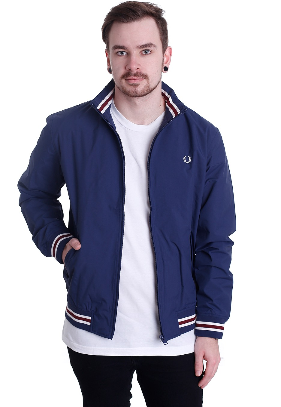 fred perry tipped brentham carbon blue jacket. Black Bedroom Furniture Sets. Home Design Ideas