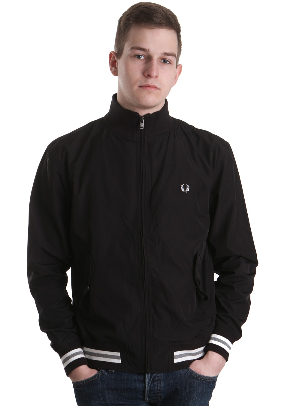 fred perry tipped microfibre black snow white chaqueta. Black Bedroom Furniture Sets. Home Design Ideas