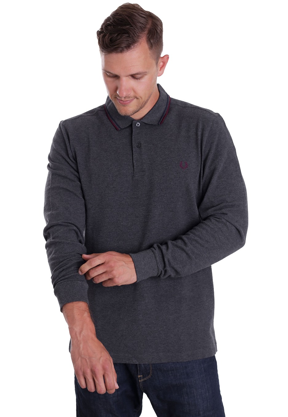 23b9593189422 ... Fred Perry - Twin Tipped Graphite Marl/Carbon Blue/Mahogany - Longsleeve