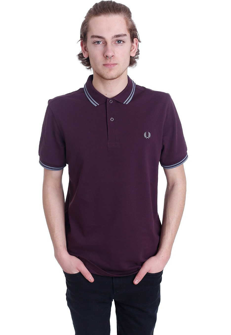 fred perry twin tipped fred perry bramble silver blue polo streetwear shop. Black Bedroom Furniture Sets. Home Design Ideas