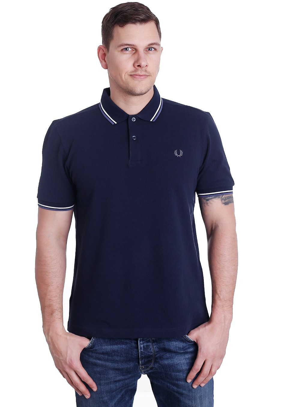 fred perry twin tipped fred perry carbon blue ecru dusk. Black Bedroom Furniture Sets. Home Design Ideas