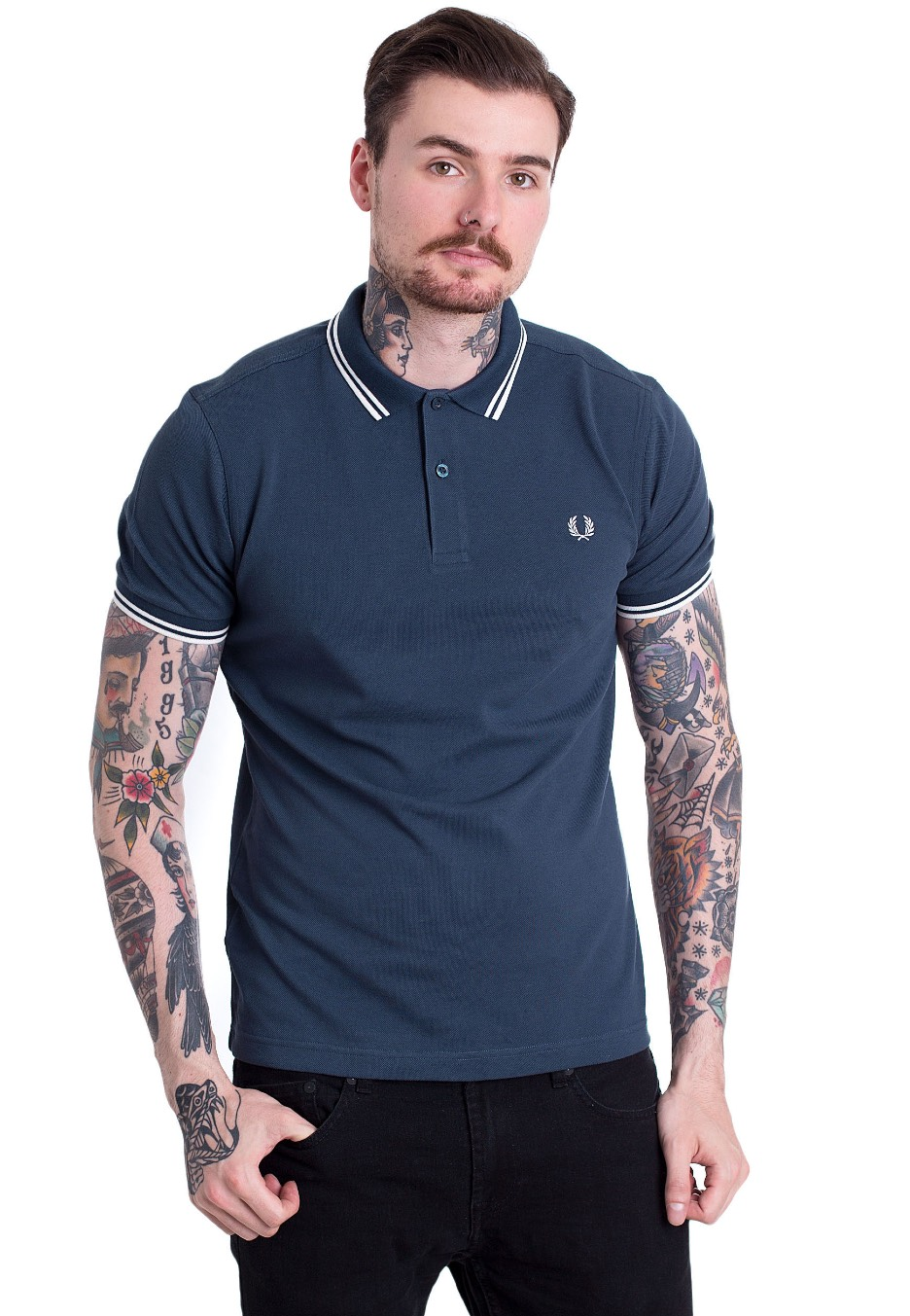 Fred Perry - Twin Tipped Fred Perry Inky Blue/Snow White ...