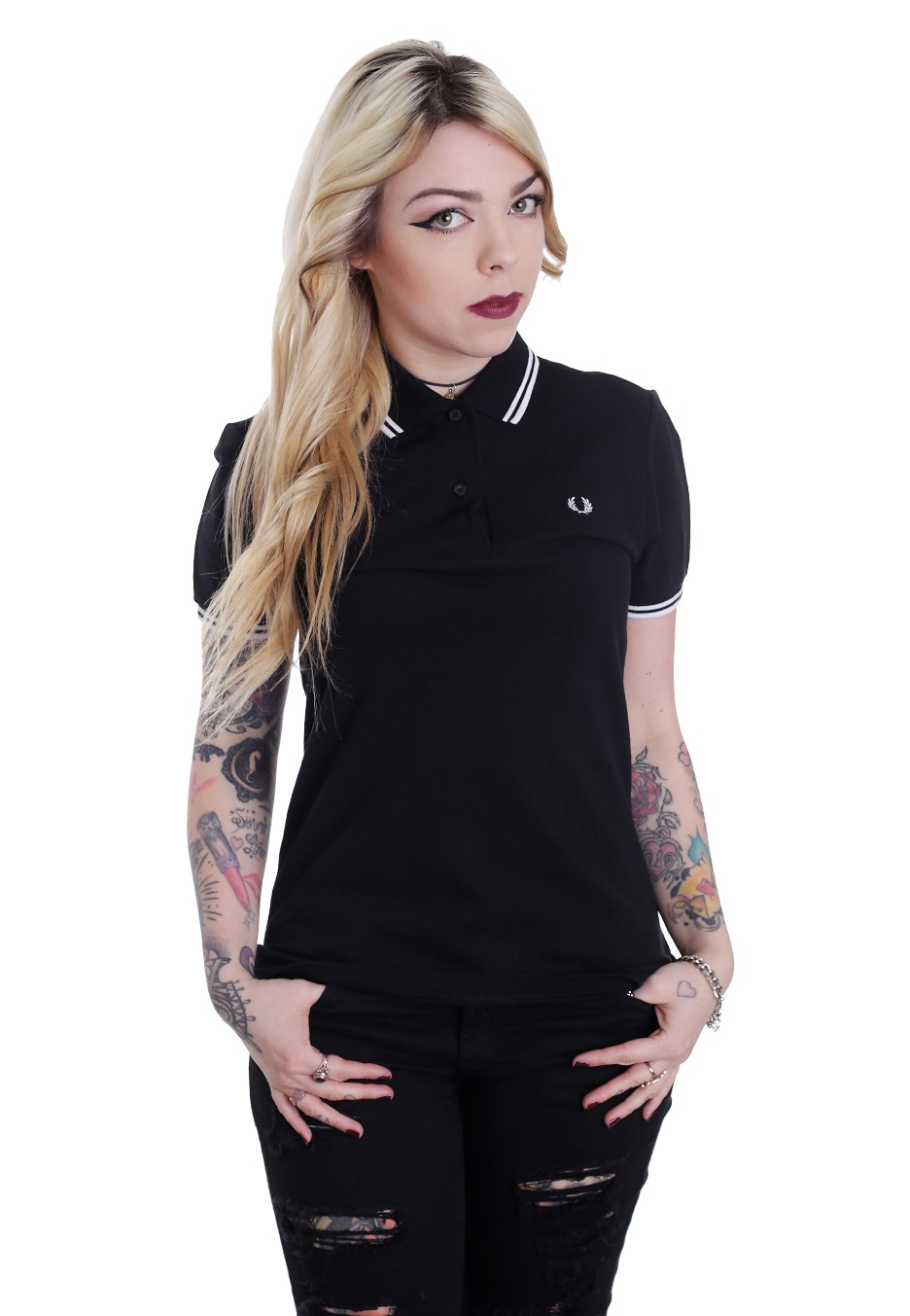 Fred Perry - Twin Tipped Fred Perry Black/White/White - Polo - Streetwear Shop - Impericon.com ...
