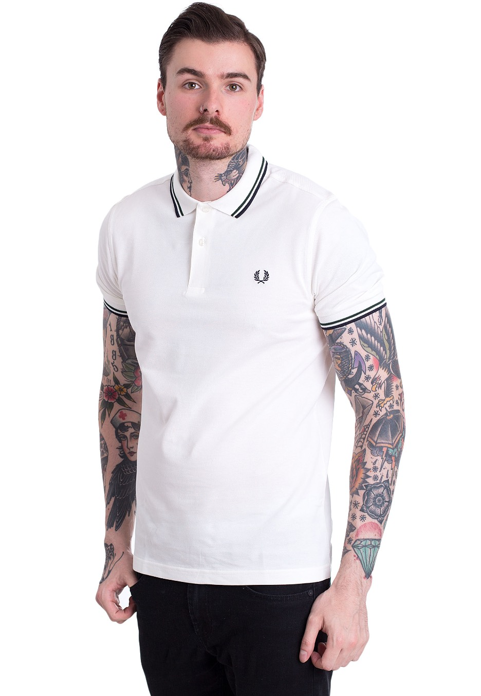266ab4509 Fred Perry - Twin Tipped Fred Perry Snow White/Ivy/Navy - Polo - Streetwear  Shop - Impericon.com AU