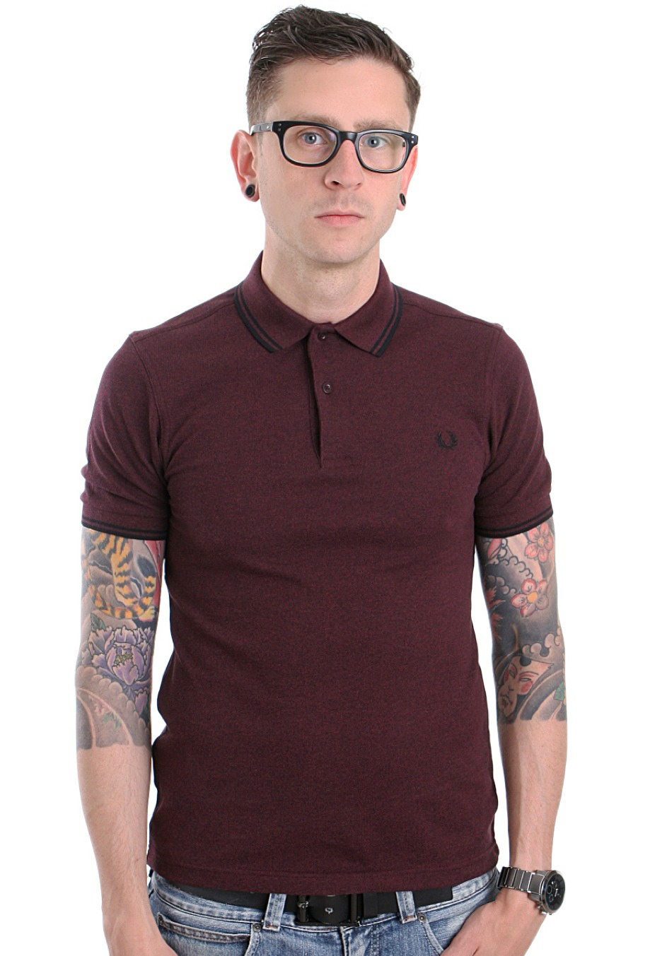 fred perry twisted marl twin tipped port polo. Black Bedroom Furniture Sets. Home Design Ideas