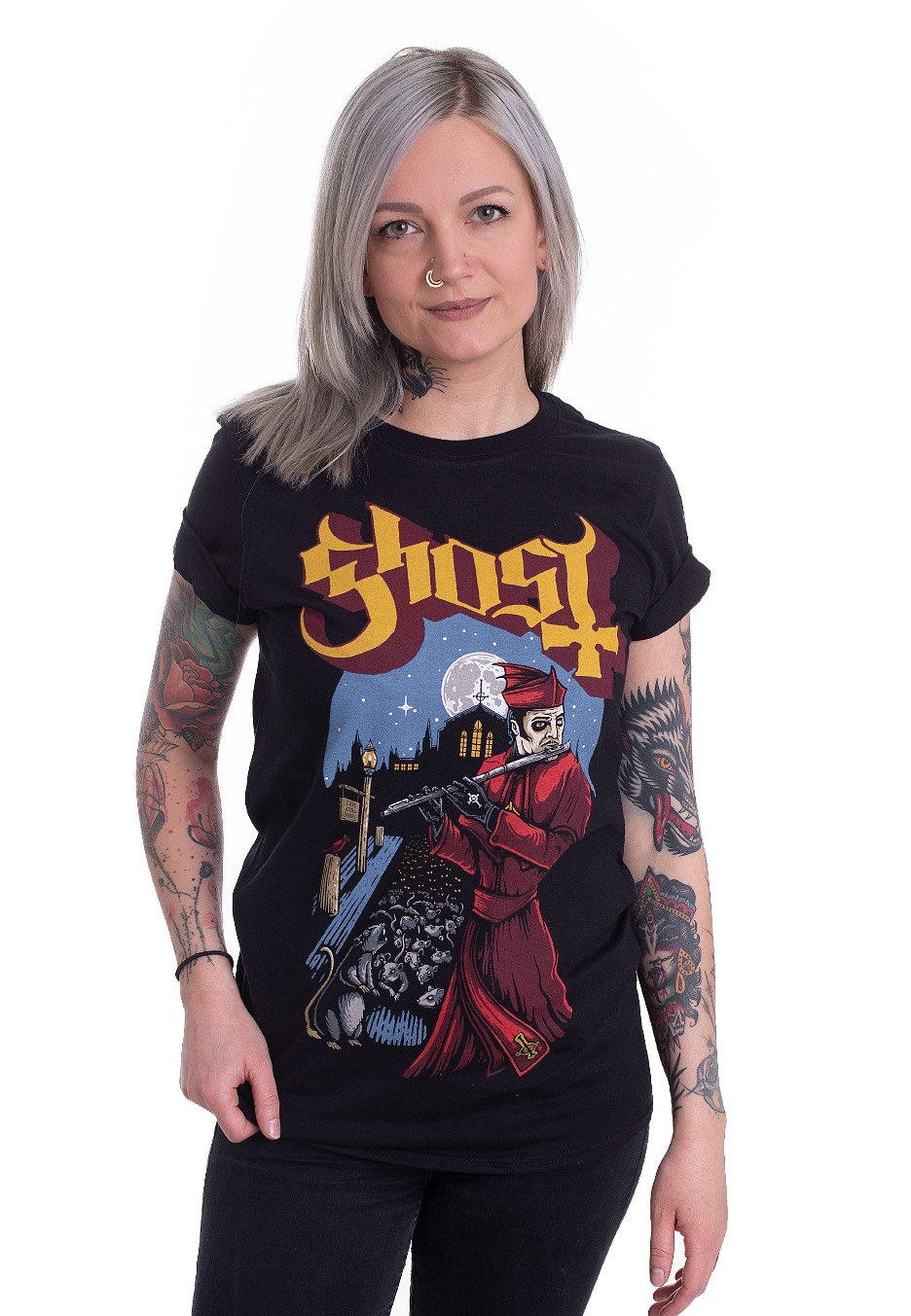 Ghost /'Advancing Pied Piper/' Black T-Shirt NEW /& OFFICIAL!