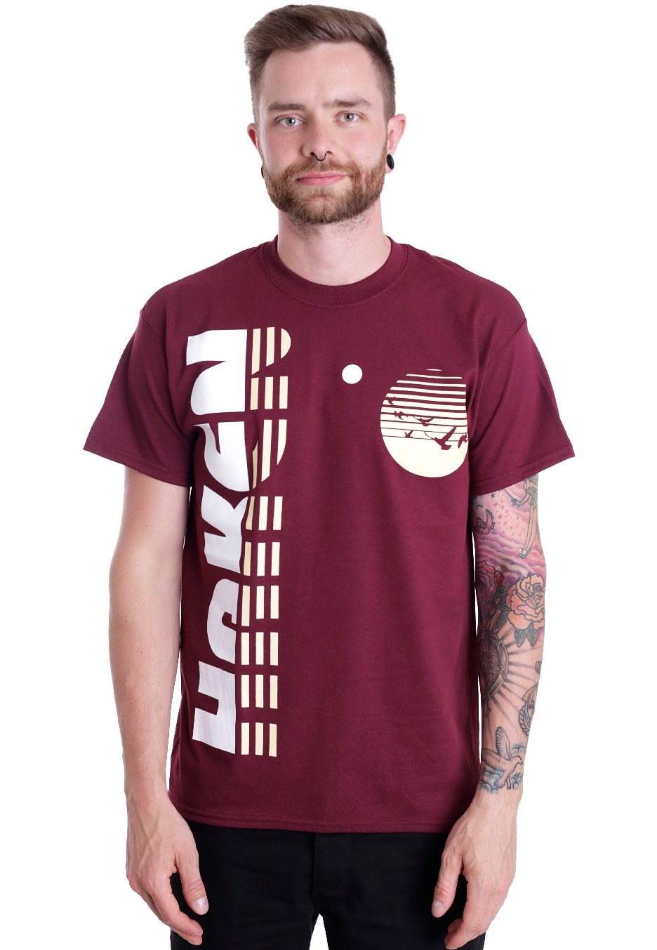Haken Vertical Maroon T Shirt Official Hard And Heavy