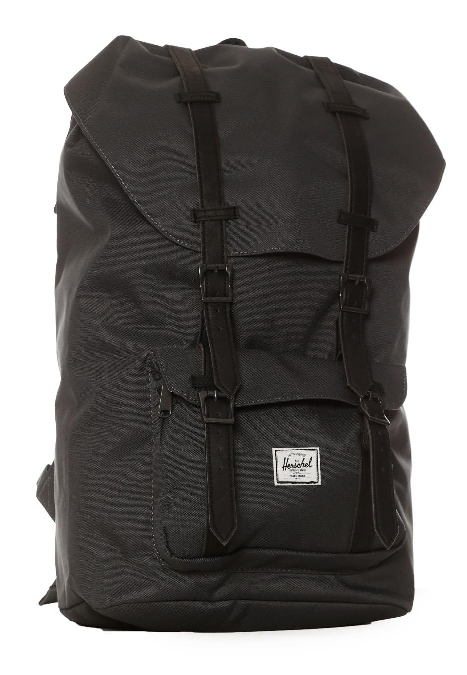 Herschel - Little America Dark Shadow Black Synthetic Leather - Backpack -  Streetwear Shop - Impericon.com UK 44166dabb1