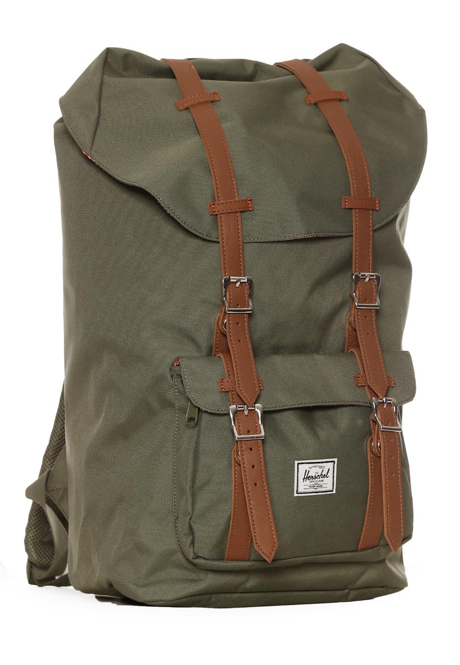 370c0dffde1 Herschel - Little America Deep Lichen Green Tan Synthetic Leather - Backpack  - Streetwear Shop - Impericon.com UK
