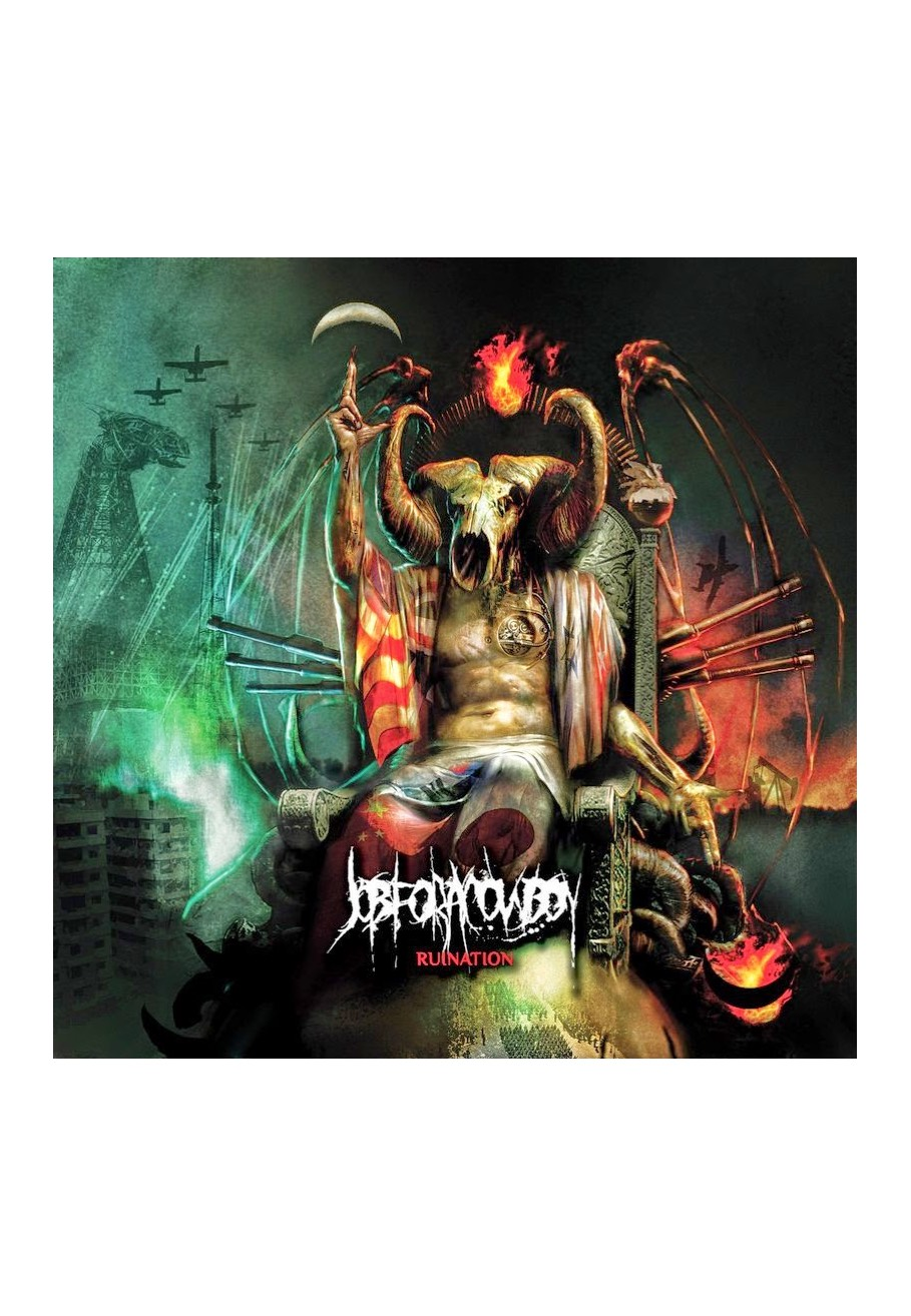 jobforacowboy_ruination_cd_lg Job For A Cowboy Demonocracy on vocalist tattoo, jon davy, members drummer, cd cover, death metal, album cover art, goat skull, john davy, death metal bands, imperium wolves shirt,