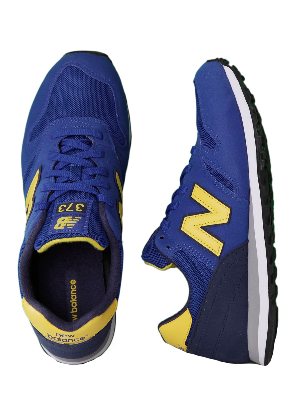 blue and yellow new balance shoes