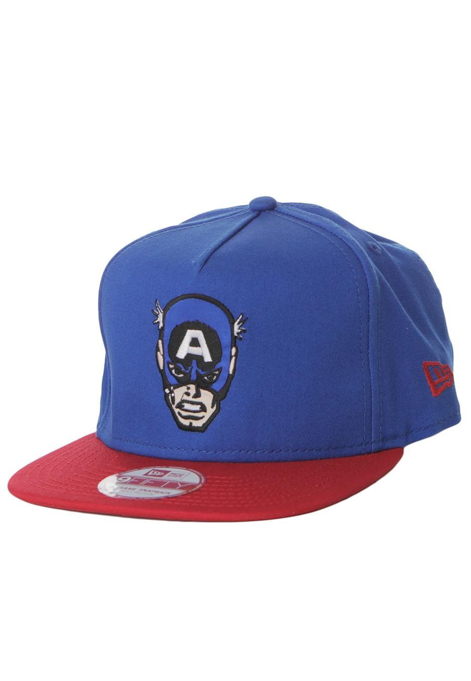 New Era - Hero Face Captain America Blue/Red Snapback - Cap