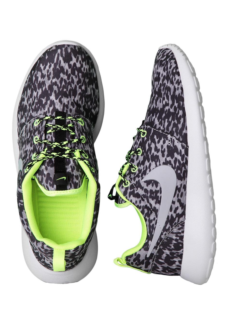 Nike - Roshe Run Print Cool Grey Wolf Grey Volt Black - Girl Shoes -  Impericon.com Worldwide 5a17b19bb080
