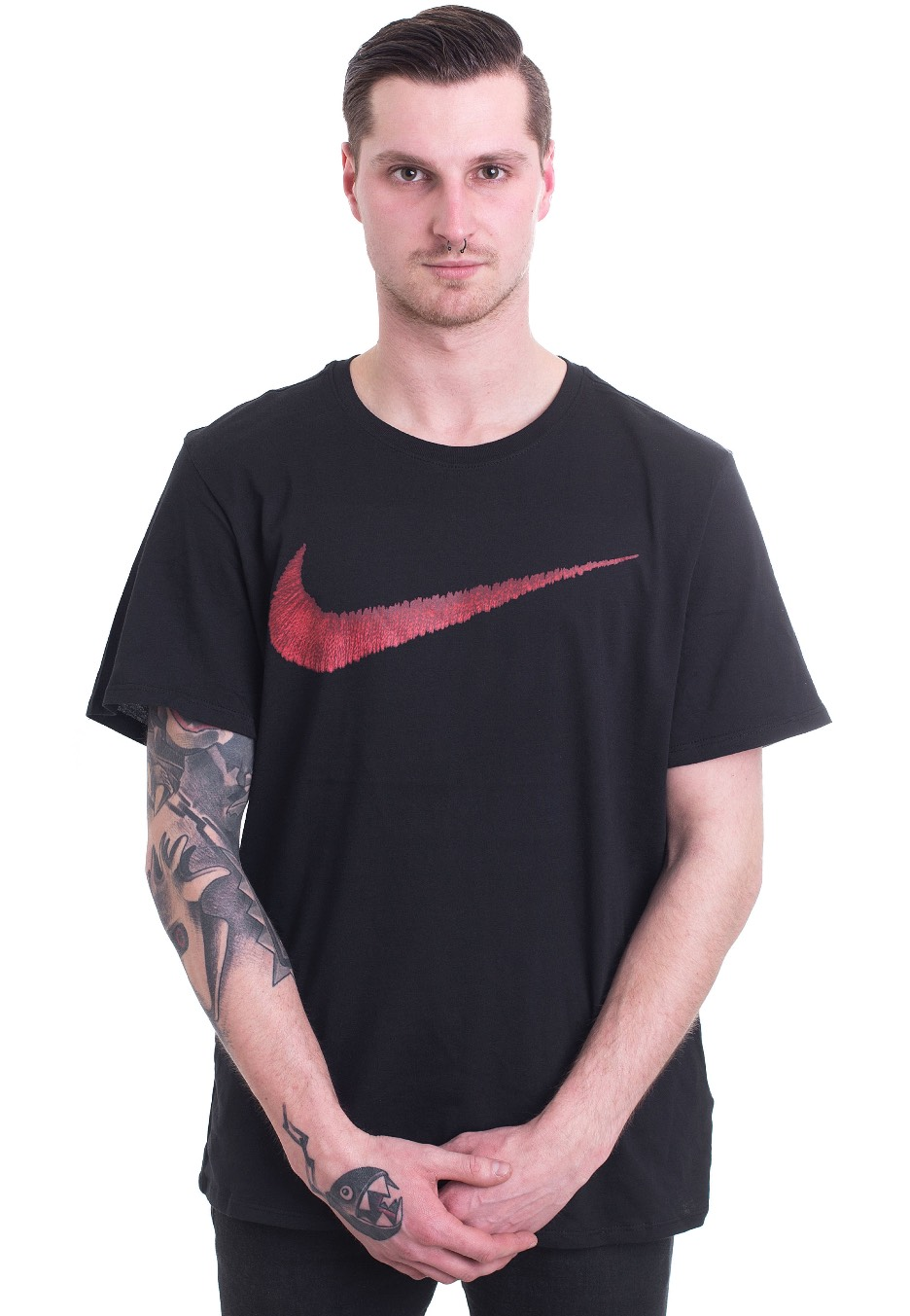 1c42f892b427 Nike - Swoosh Black Sport Red - T-Shirt - Streetwear Shop - Impericon.com  Worldwide