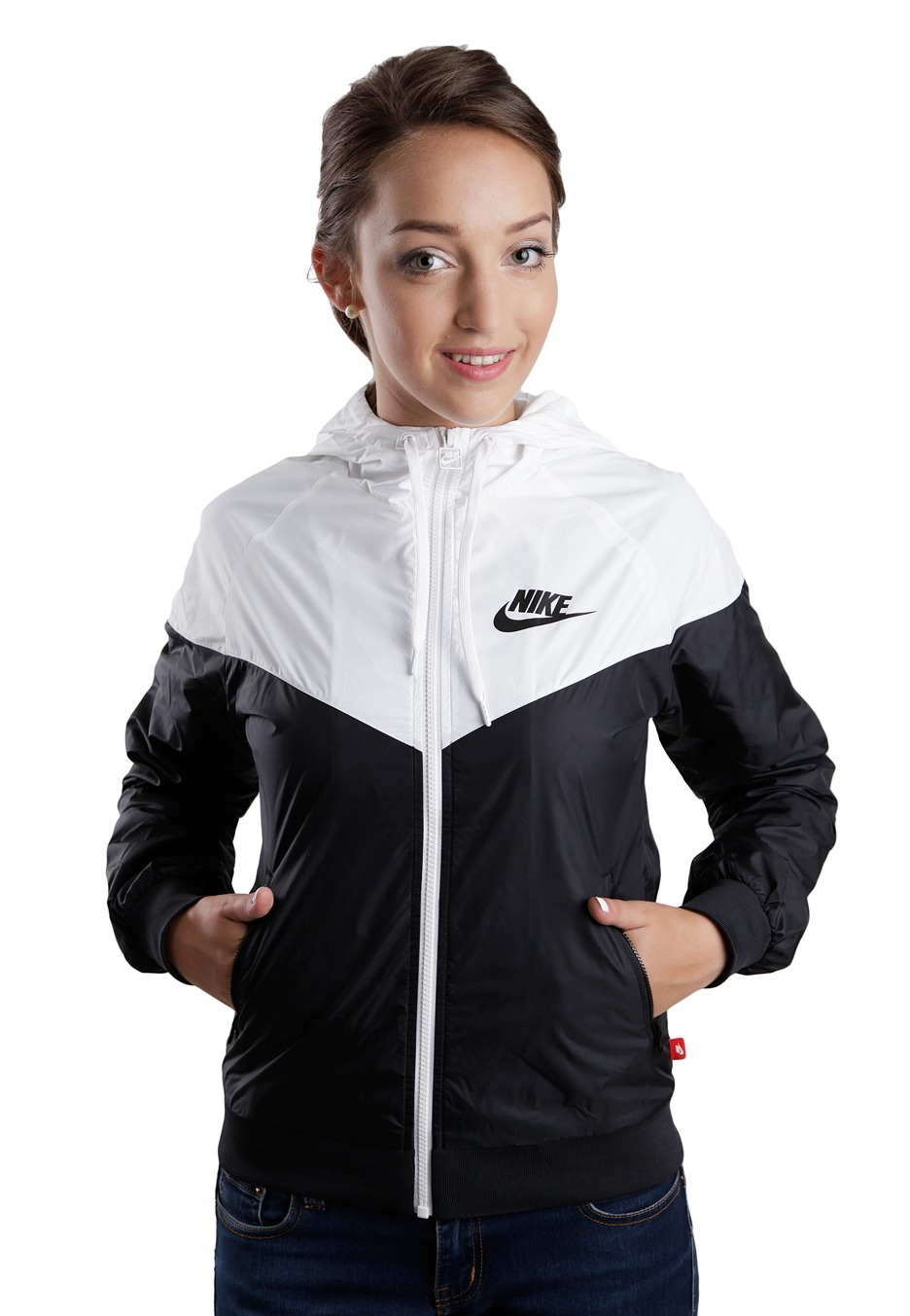 Nike - The Windrunner Blackwhiteblack - Girl Jacket -8772