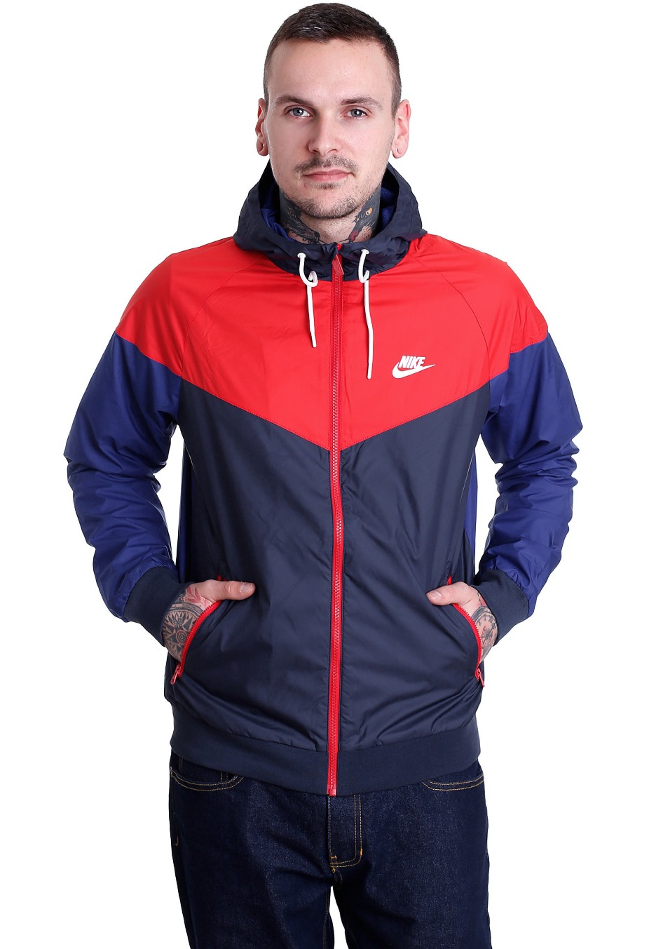 Nike Windrunner Obsidian University Red White
