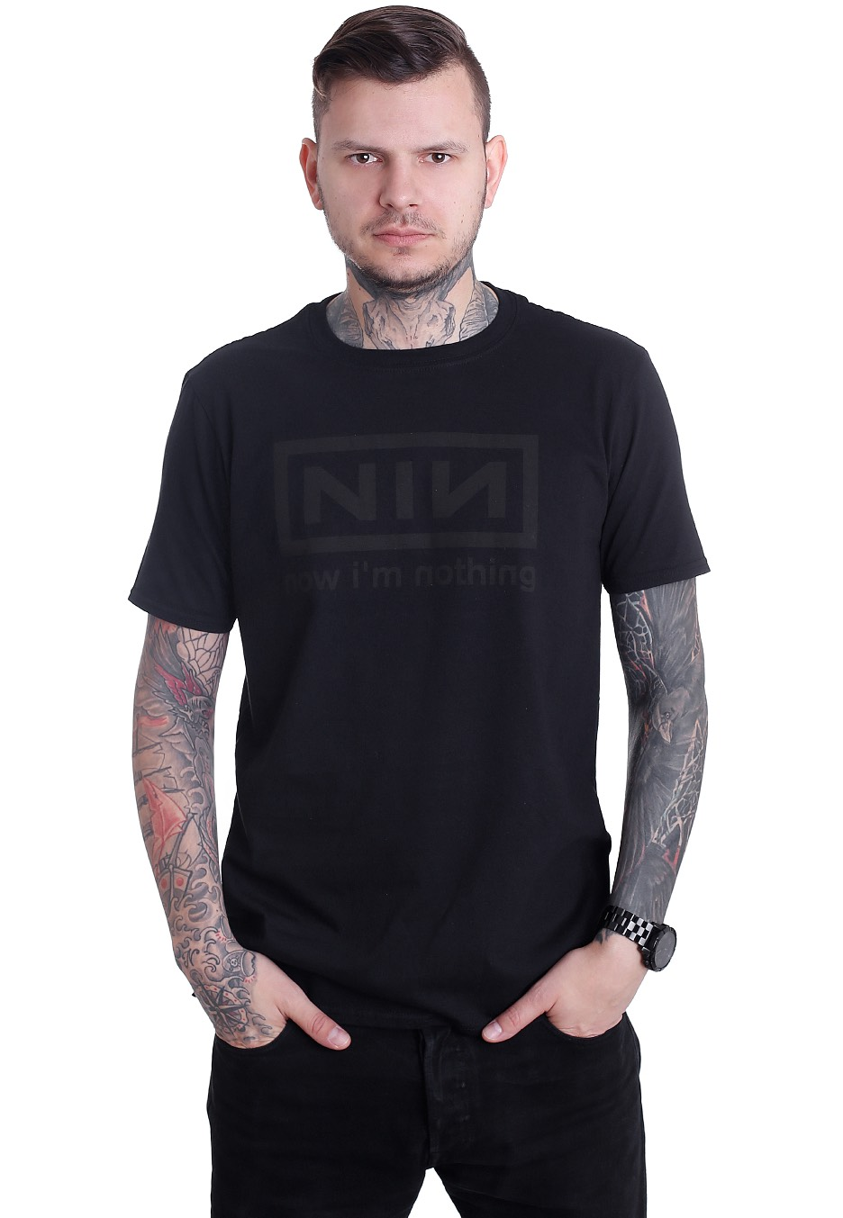 Nine Inch Nails - Now I\'m Nothing Charcoal - T-Shirt - Official Rock ...