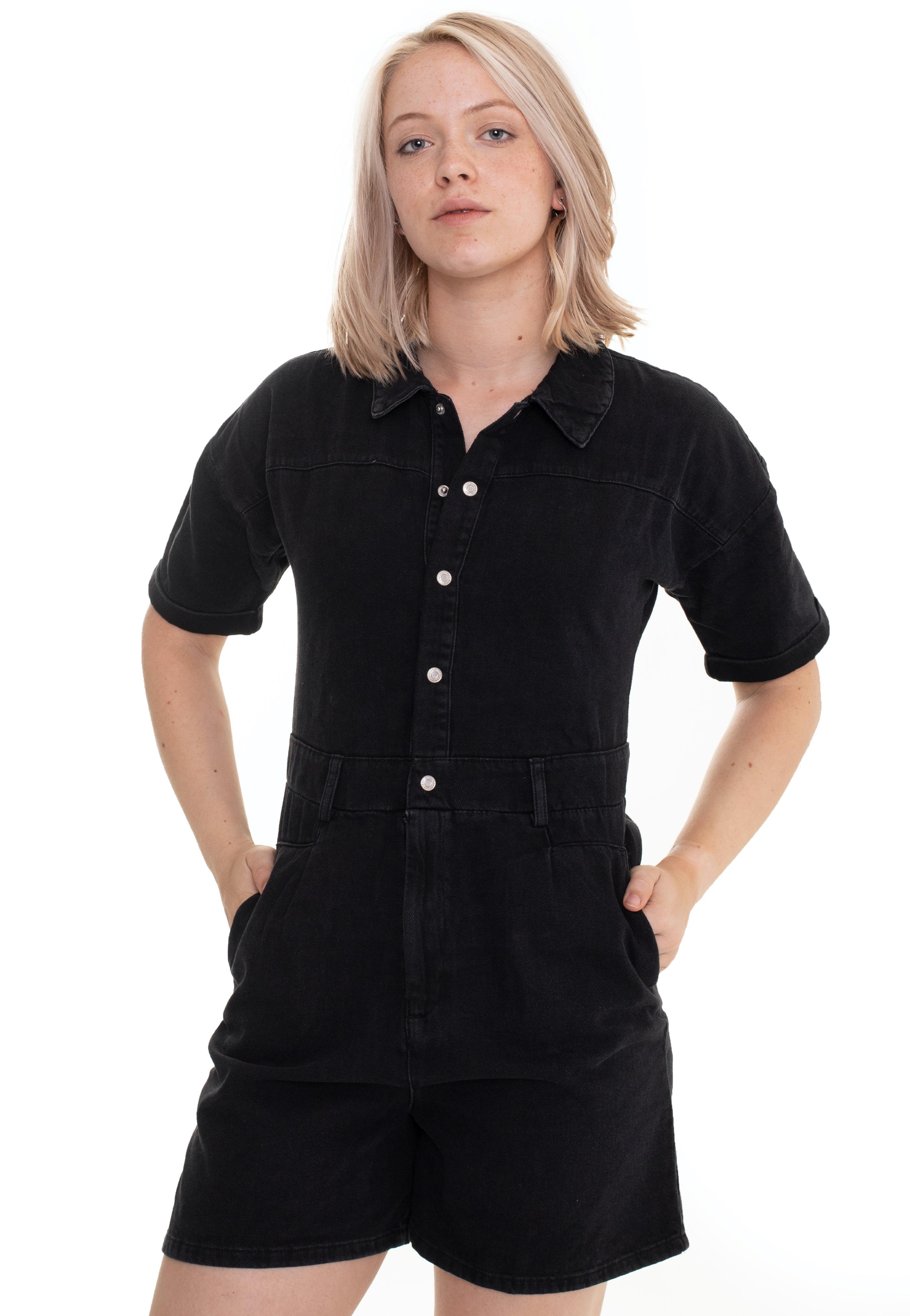 Hosen - Noisy May Denise Playsuit Black Denim Jumpsuits  - Onlineshop IMPERICON