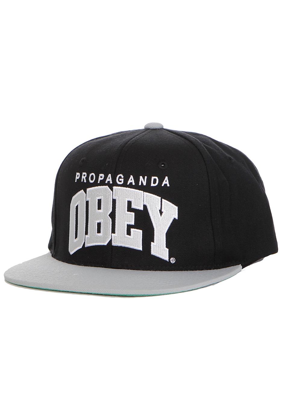096ec5afedaa3 Obey - Throwback Black Silver Snapback - Cap - Streetwear Shop -  Impericon.com UK