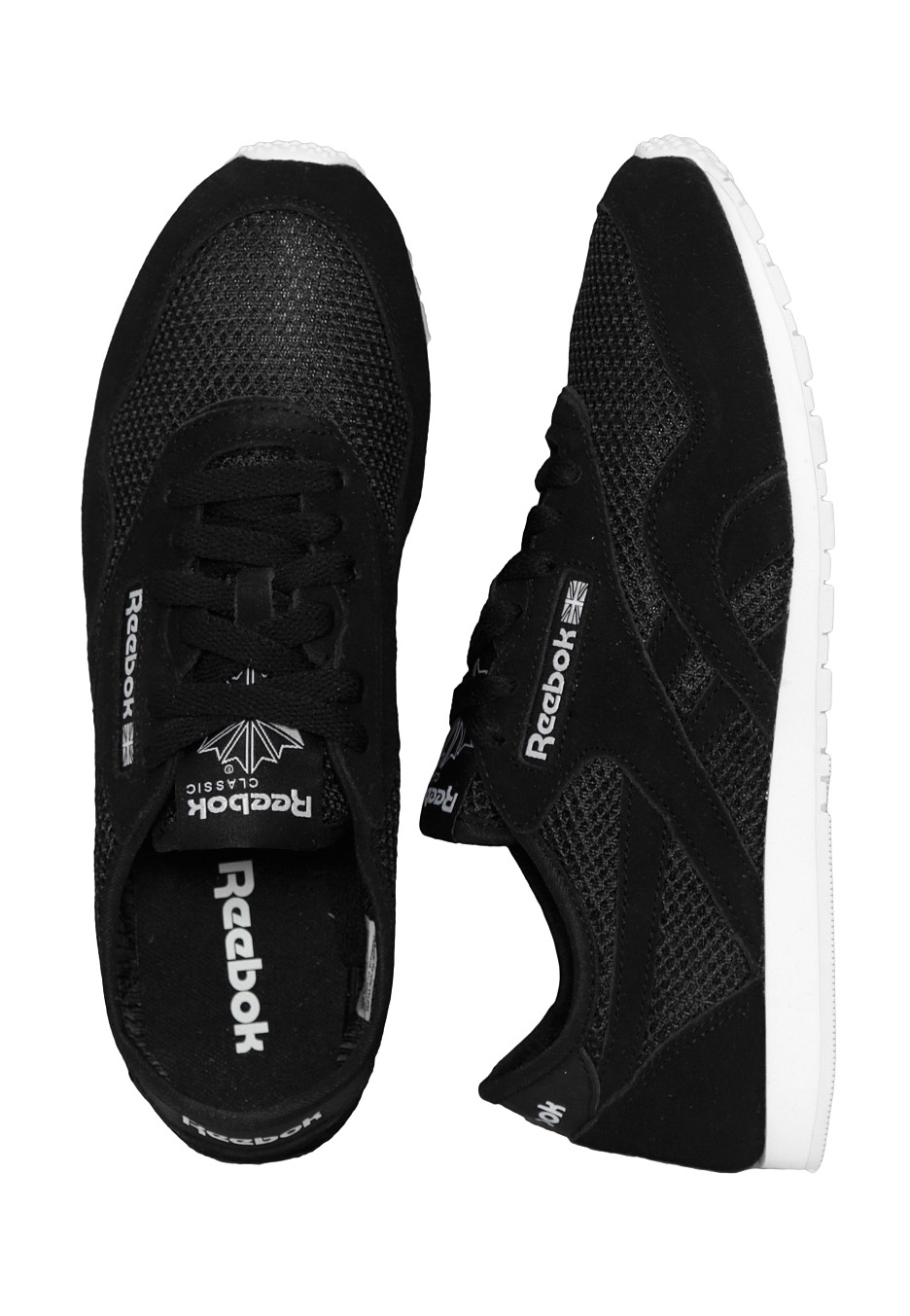 69d3ae747cd Reebok - CL Nylon Slim Mesh Black White - Girl Shoes - Impericon.com  Worldwide