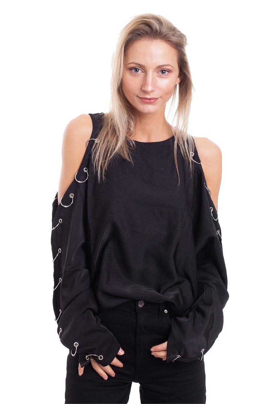 Gothic Fashion Restyle oversized shirt COLD SHOULDER PIERCED BLOUSE