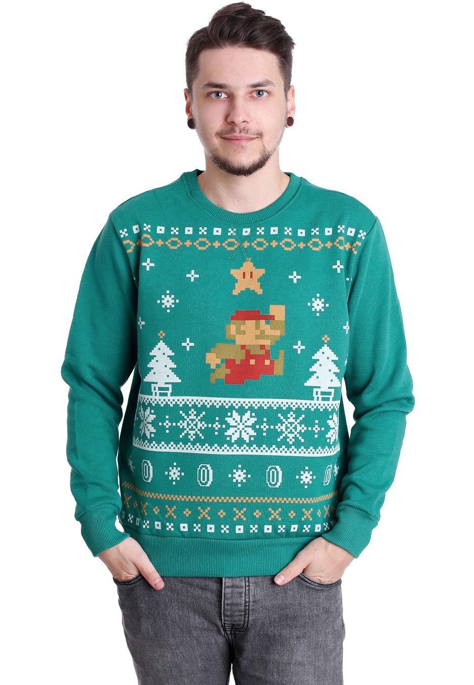 Super Mario - Jumping Mario Christmas Green - Sweater - Impericon ...