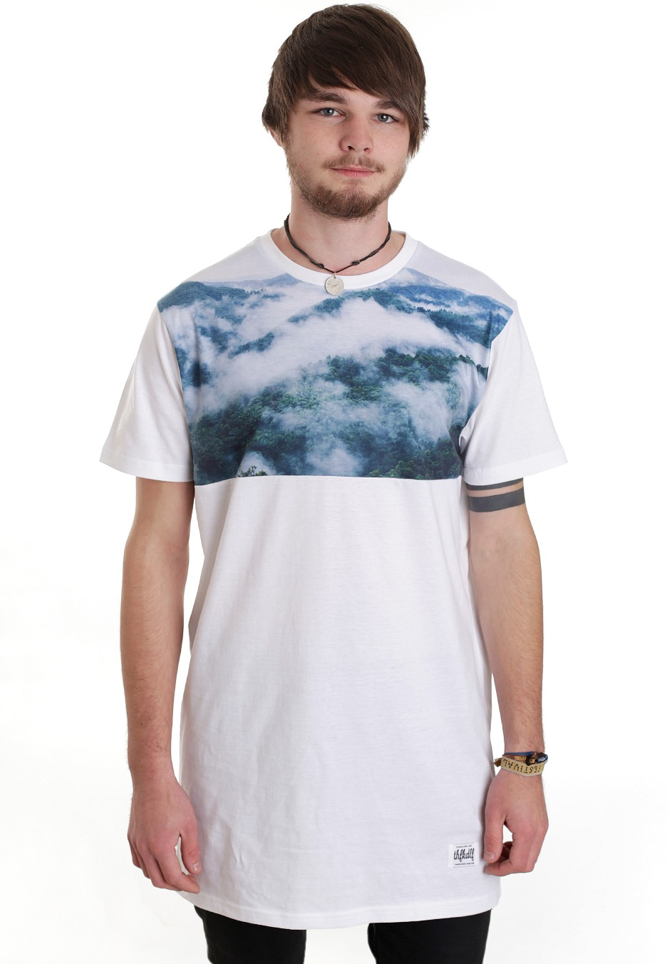 THFKDLF - Cloud Line Panel Long White - T-Shirt ...