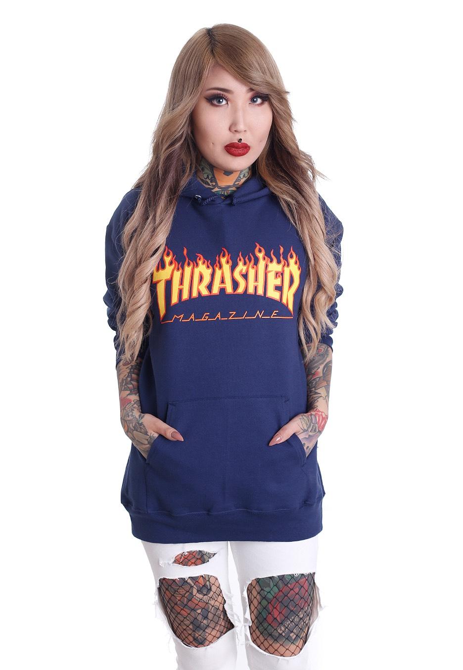 a8098883546f Thrasher - Thrasher Flame Navy - Hoodie - Streetwear Shop - Impericon.com UK
