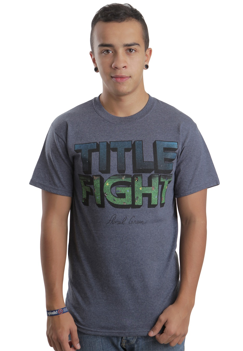 title fight floral green heather blue tshirt