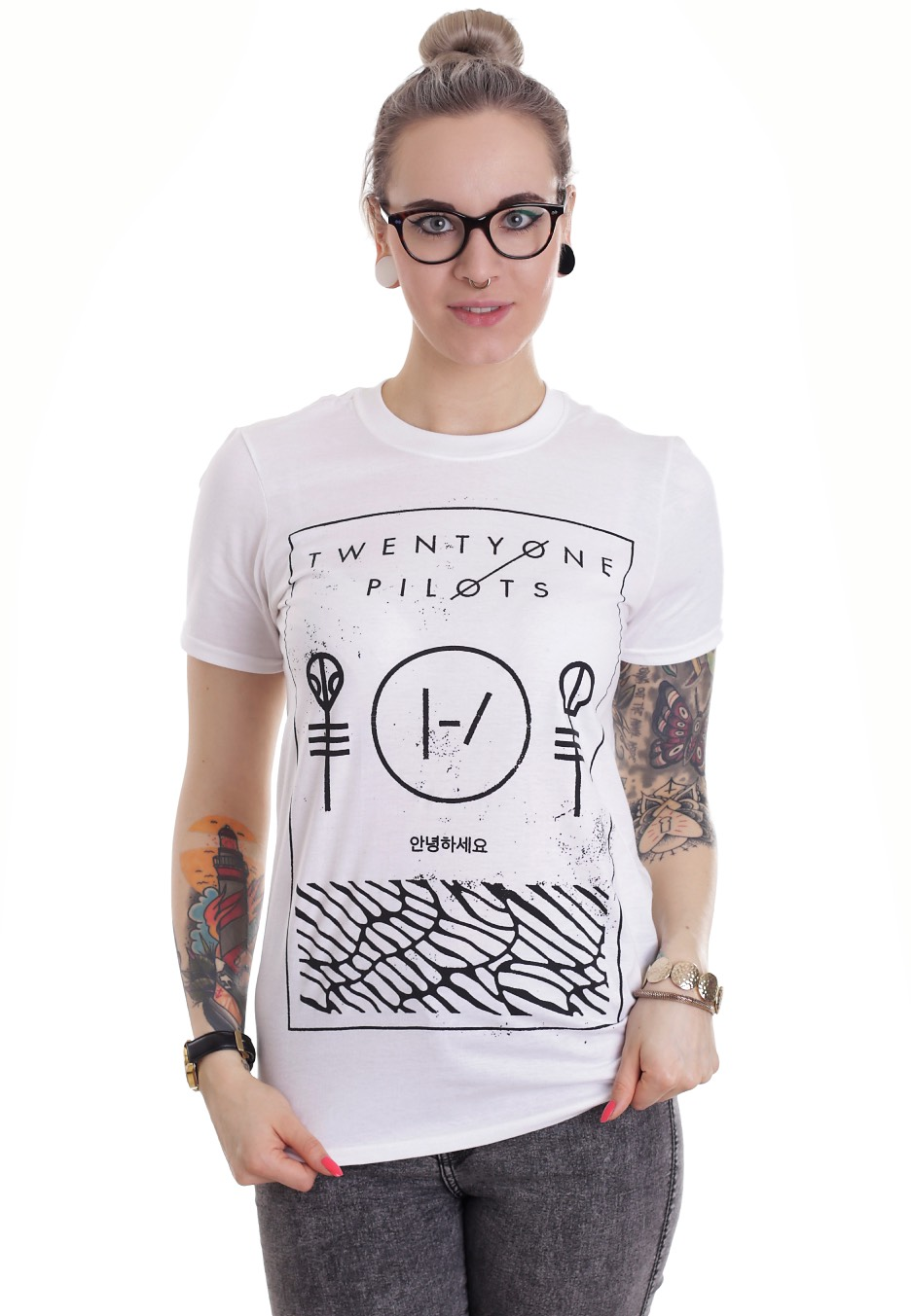 Twenty one pilots thin line box white t shirt for Twenty one pilots