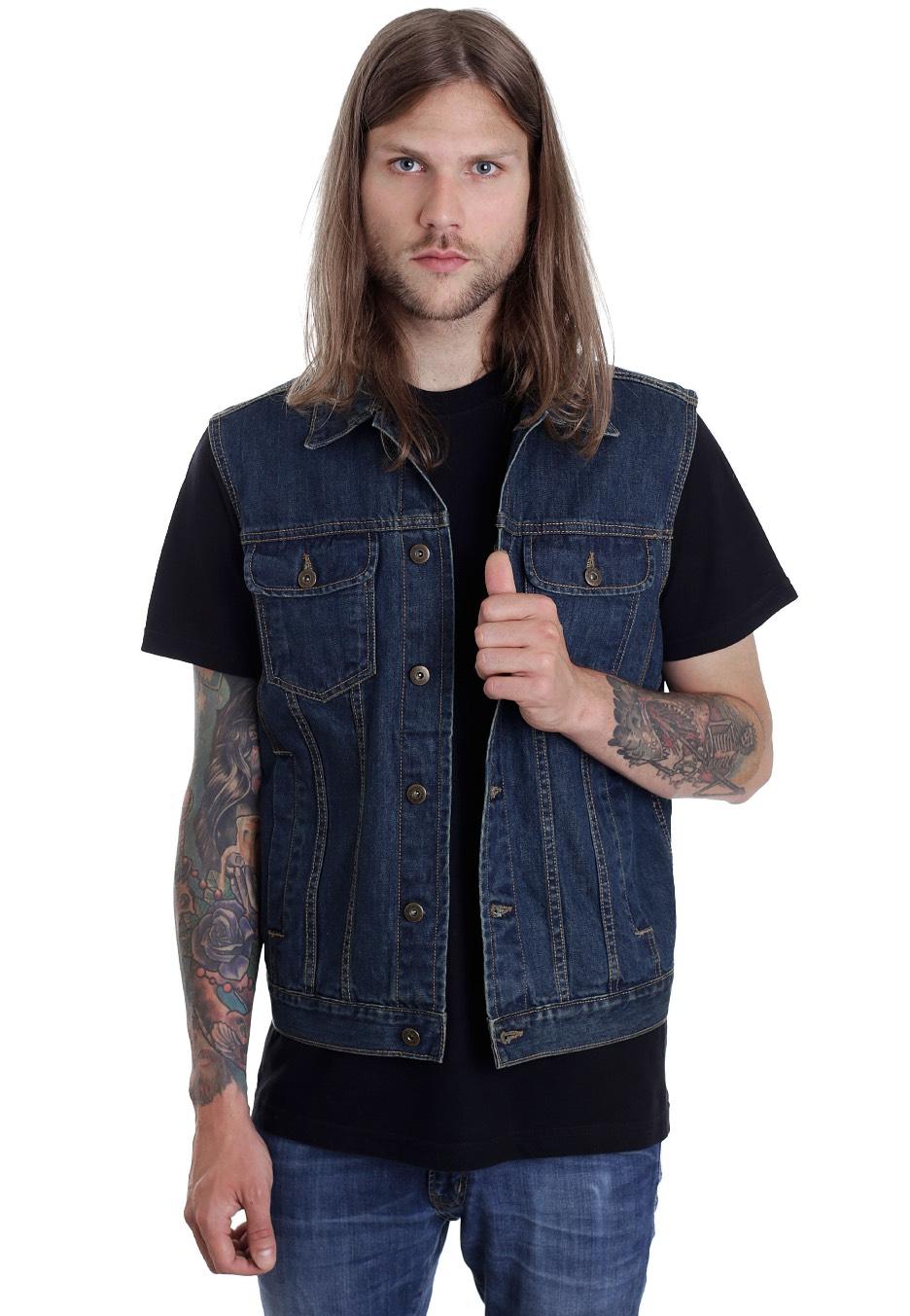 urban classics denim denimblue jeans vest streetwear