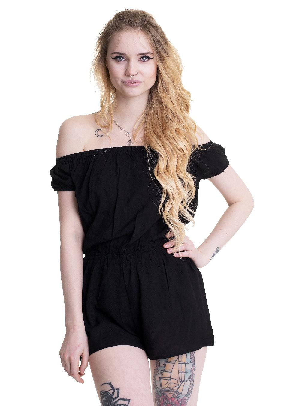 Hosen - Urban Classics Ladies Off Shoulder Short Black Jumpsuits  - Onlineshop IMPERICON