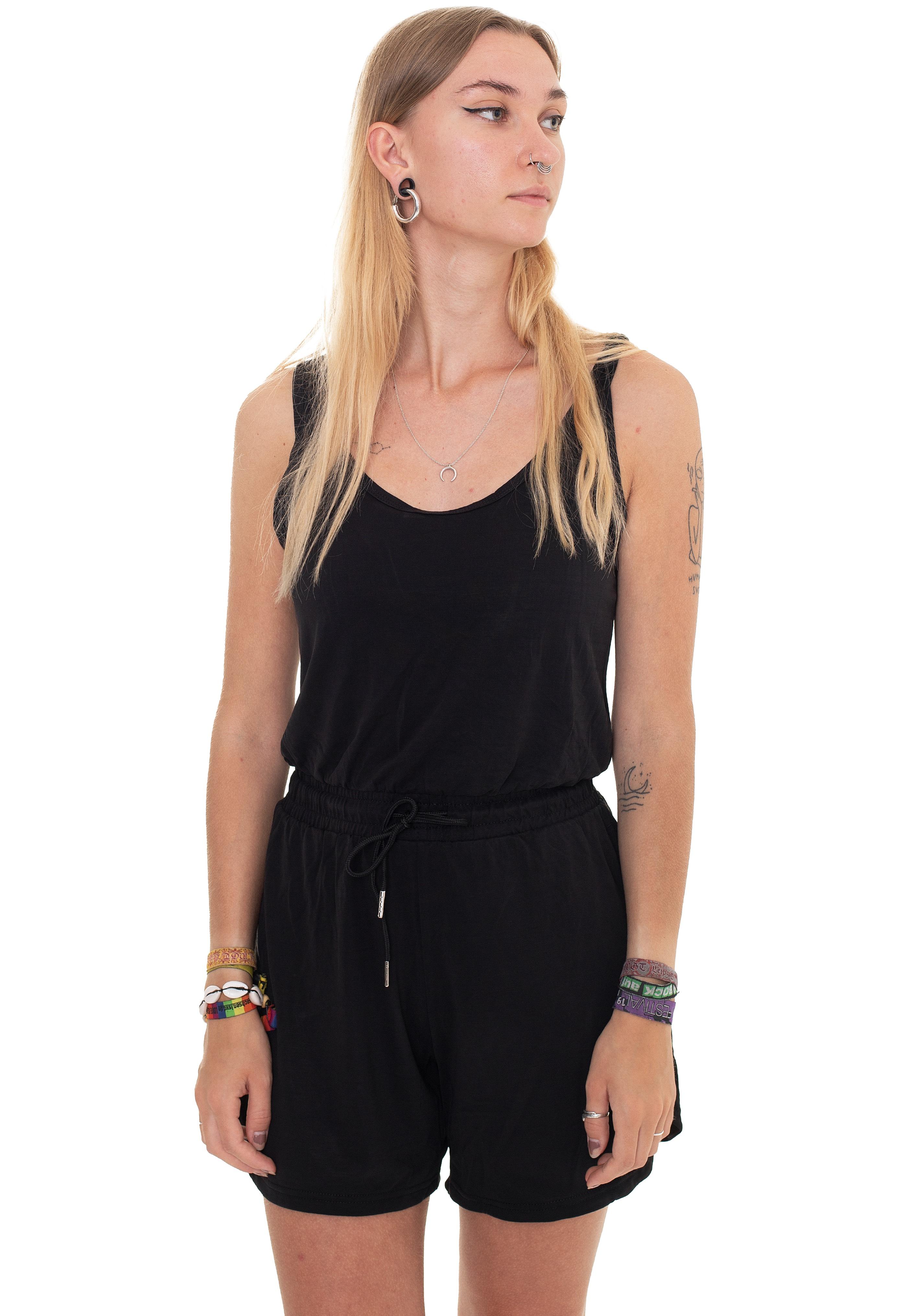 Hosen - Urban Classics Ladies Short Sleeveless Modal Black Jumpsuits  - Onlineshop IMPERICON