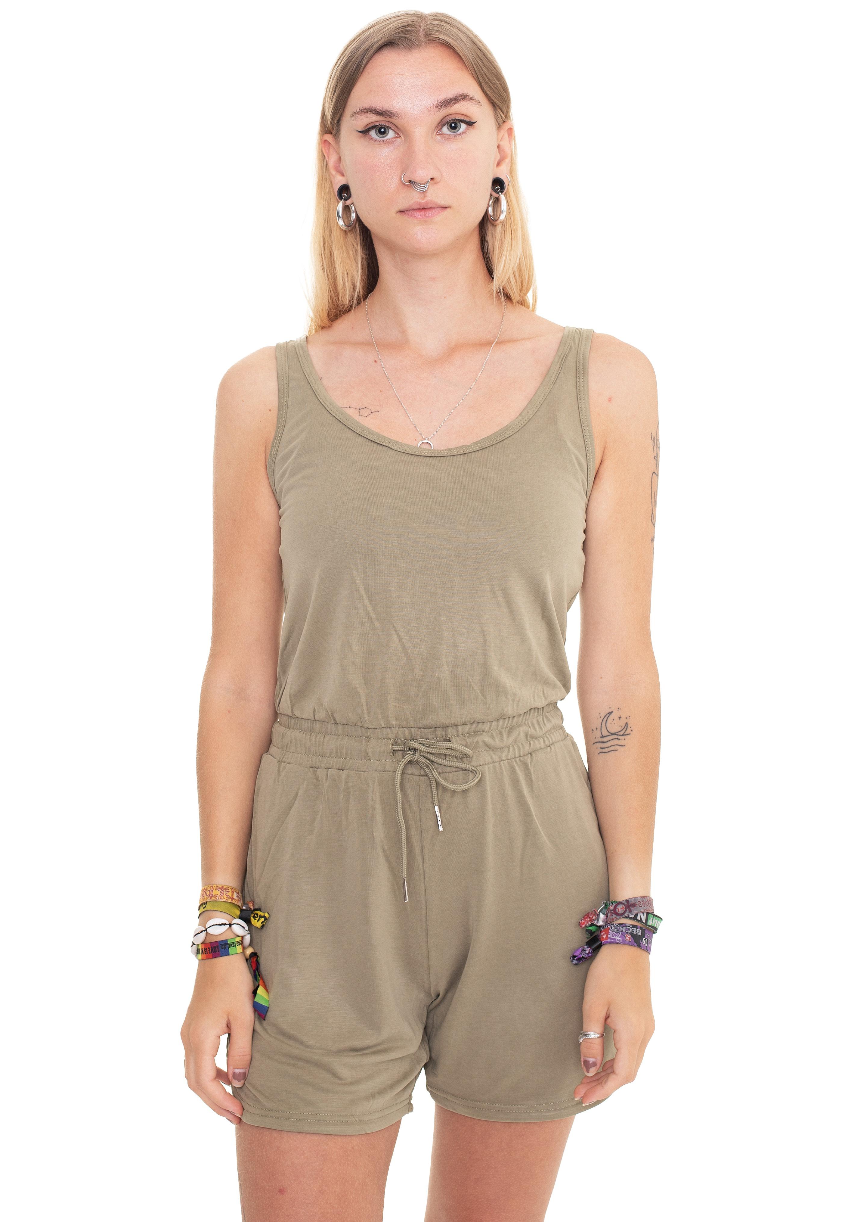 Hosen - Urban Classics Ladies Short Sleeveless Modal Khaki Jumpsuits  - Onlineshop IMPERICON