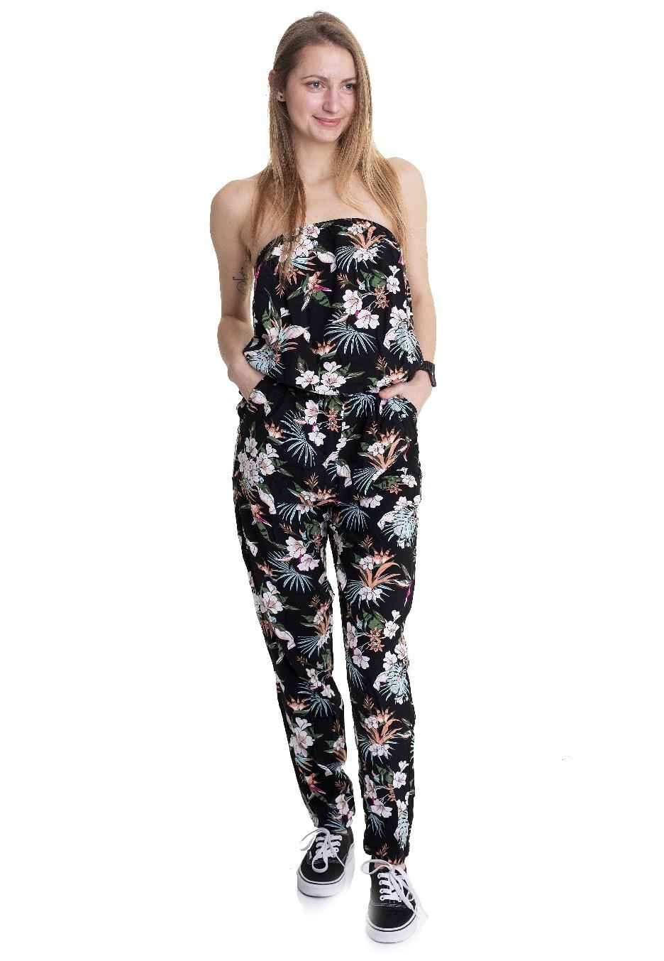 Hosen - Urban Classics Ladies Viscose Bandeau Black Tropical Jumpsuits  - Onlineshop IMPERICON