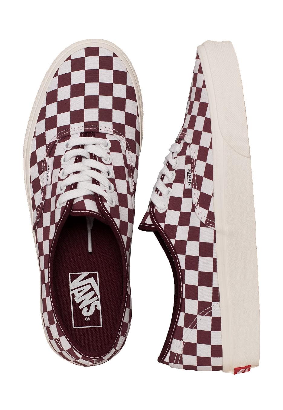 burgundy checkered vans slip ons