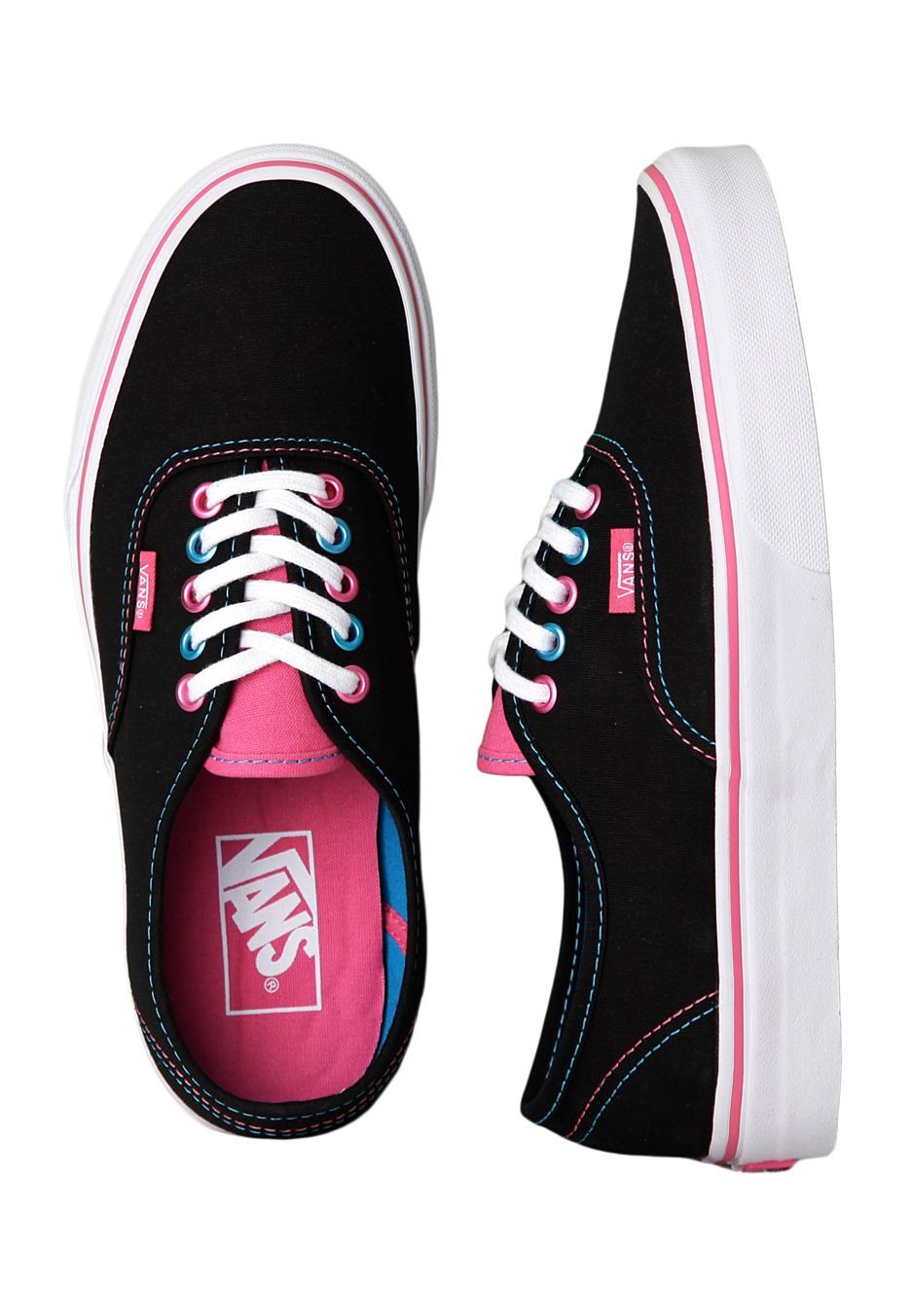 7441278b Vans - Authentic Pop Eyelets Black/Blue Juwel - Girl Shoes
