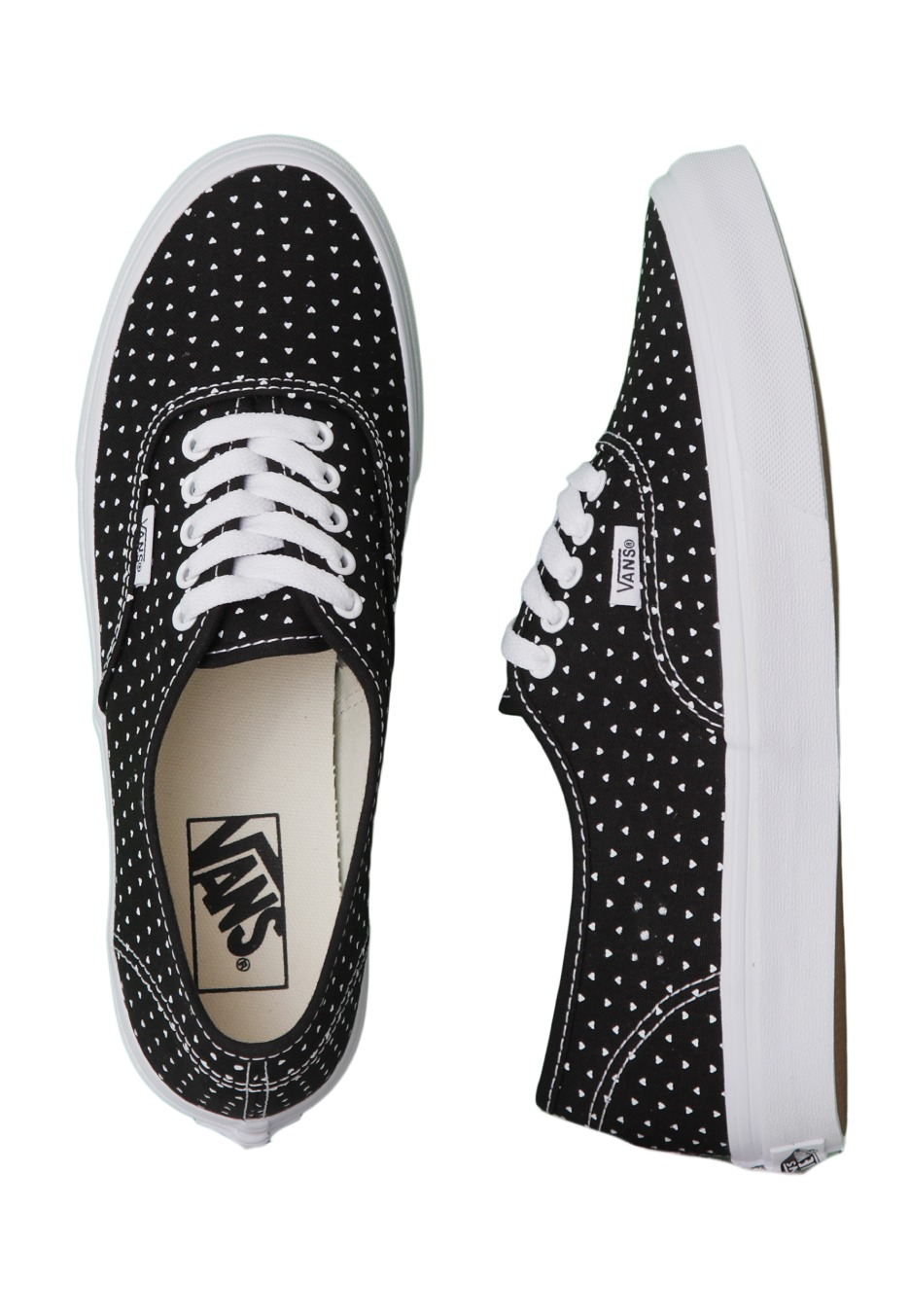 Vans - Authentic Slim Micro Hearts Black/True White - Girl Shoes ...