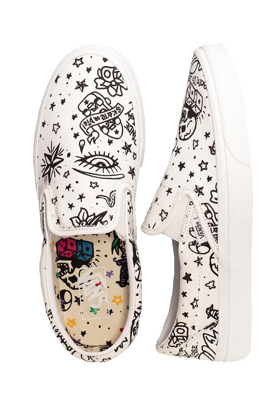 Vans Classic Slip On U Color Tattoo True White Schuhe Impericon Com De