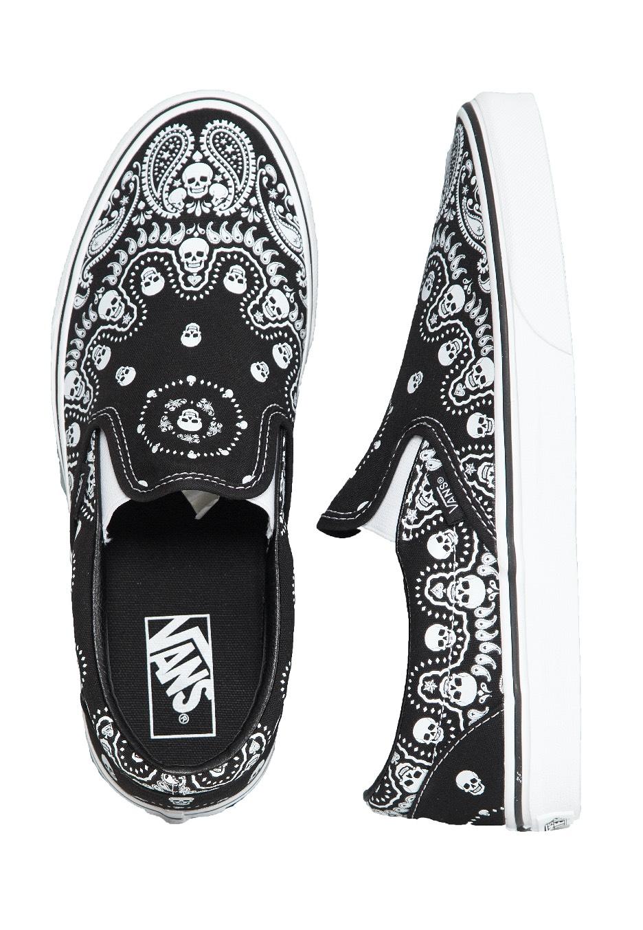 Vans - Classic Slip On (Bandana) Black/True White - Shoes ...