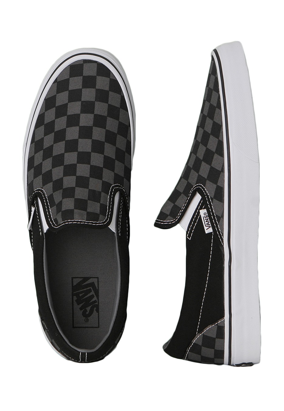 vans checkerboard slip on black