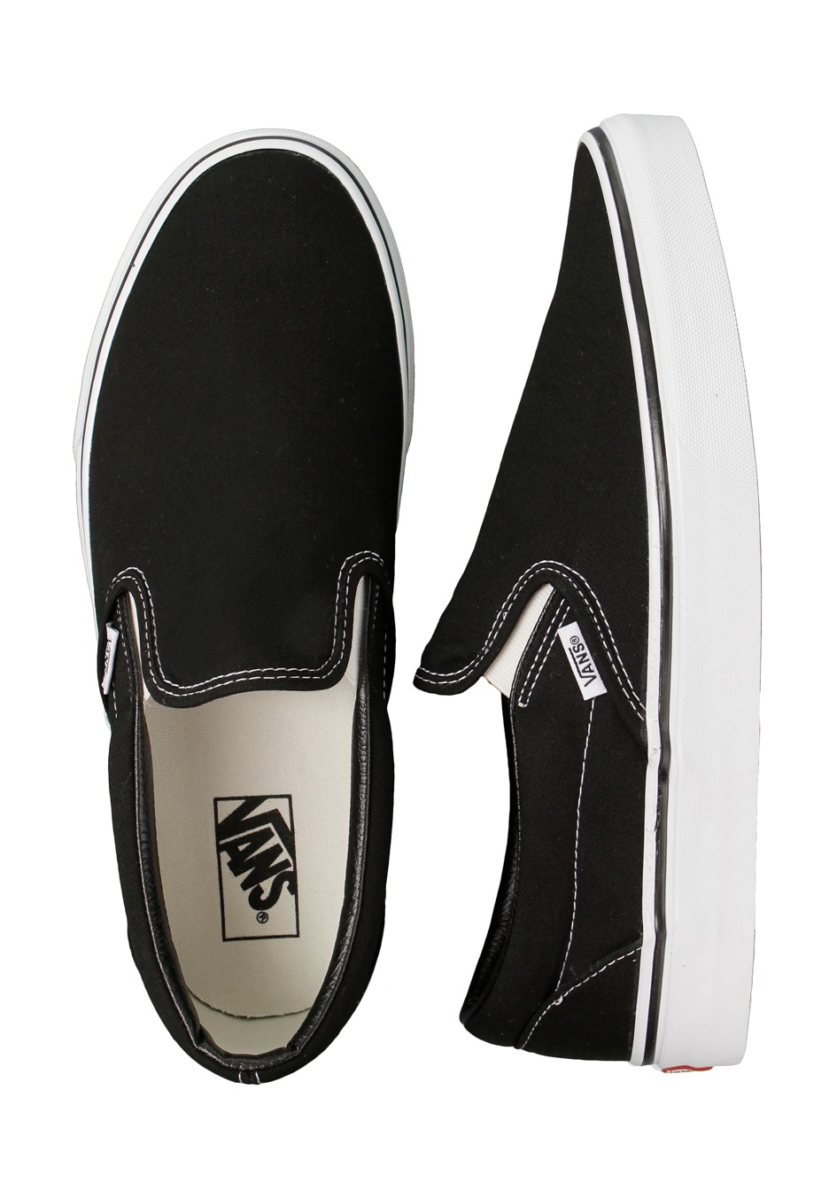 vans black white slip on