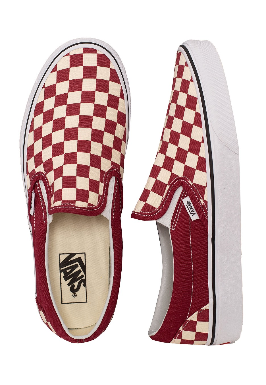 Vans Classic Slip On Checkerboard Rumba RedWhite Skor