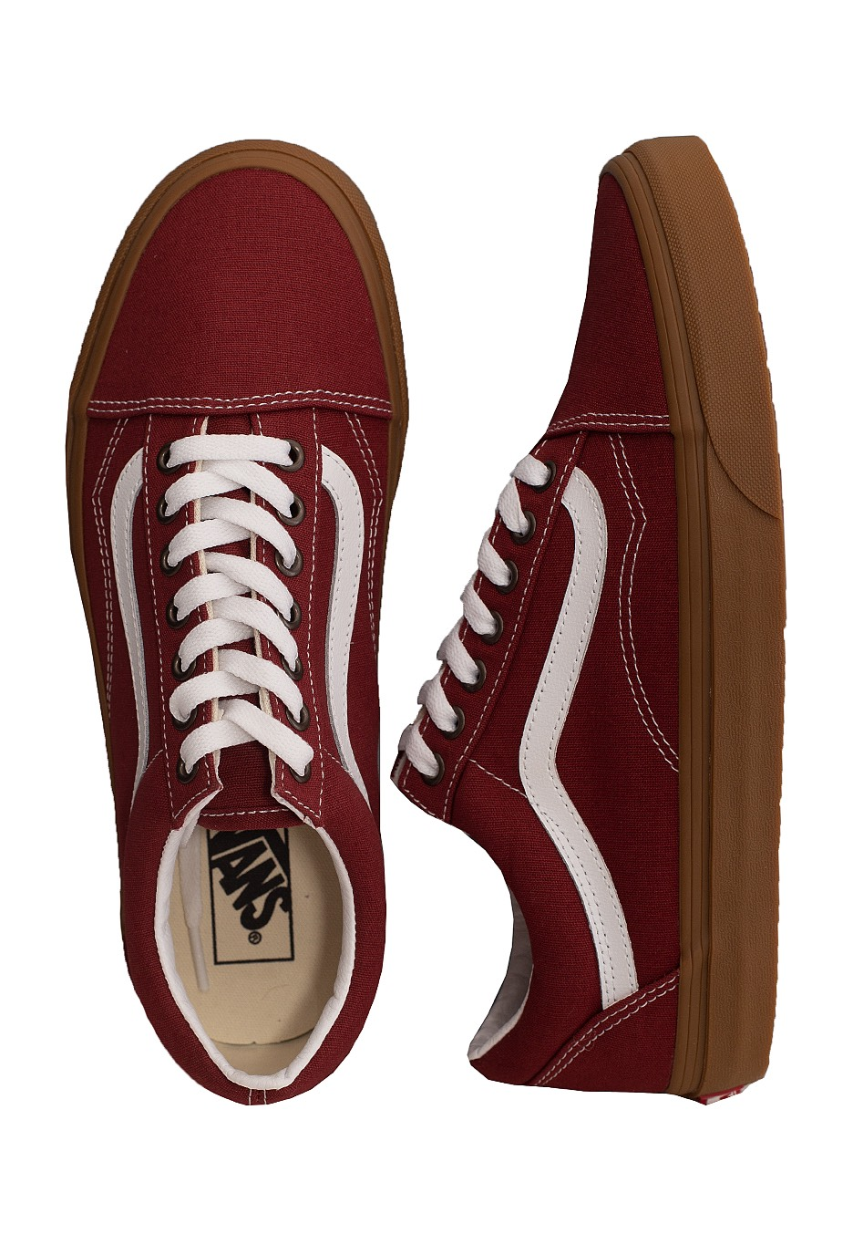 Vans Old Skool Sneaker en Burgundy & True White   REVOLVE