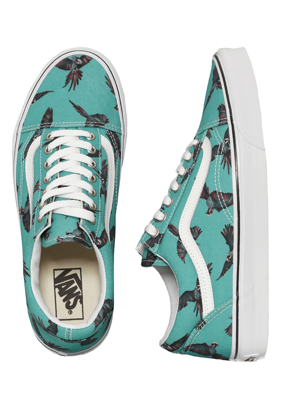 vans old skool dirty bird turquoise true white scarpe. Black Bedroom Furniture Sets. Home Design Ideas