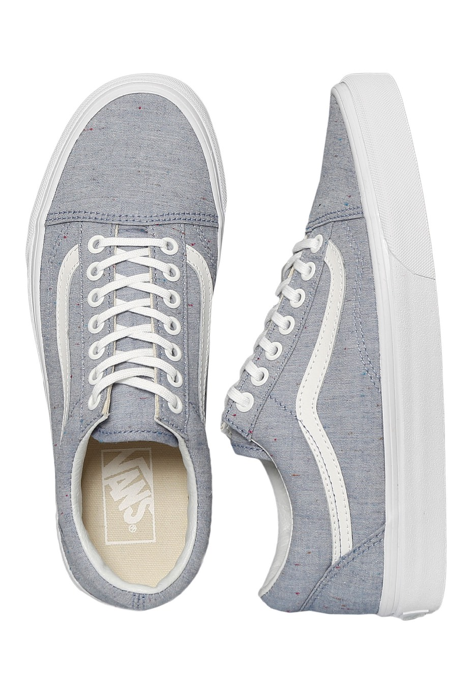 883eaa092893d3 Vans - Old Skool Speckle Jersey Blue True White - Girl Shoes -  Impericon.com UK